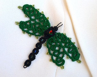 Brooch Dragonfly tatting with beads