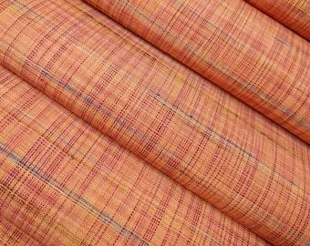 Vintage, woven orange tone wool blend kimono fabric - by the yard