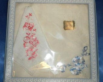 Vintage Gift Box of 2 Satin Embroidered Pink & Blue Cotton Hankies / Handkerchiefs - New Old Stock