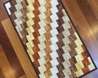 """Quilted table runner topper Bargello style  Reversible.  Van Gogh inspired fabrics 17"""" x 31"""""""