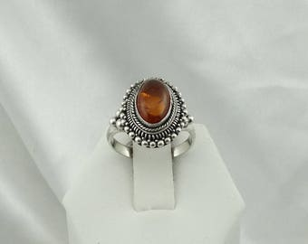 Natural Amber Vintage Sterling Silver Ring  #AMBSS2-SR5