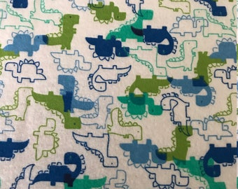 Pack and Play Sheet - Blue and Green Dinosaurs - Flannel