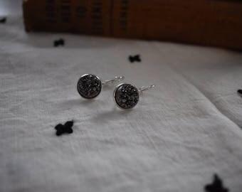 Silver Druzy Dangle Earrings
