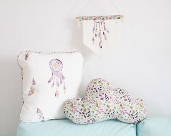 Cushion cloud flowers violets and Roses 40x23cm