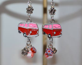 Earrings Flower Power Red VW Bus, Red VW Bus Earrings, Volkswagen Van Earrings, Flower Beads & Volkswagen Bus Charm Earrings