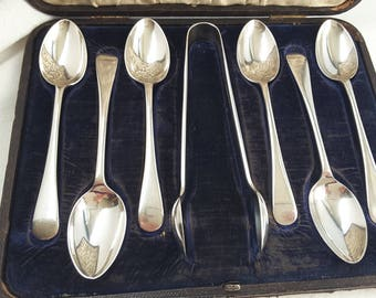 Victorian Walker and Hall Set of Six Silver Plated Teaspoons and Sugar Tong Set in Leather Tooled Case with Velvet and Silk Lining