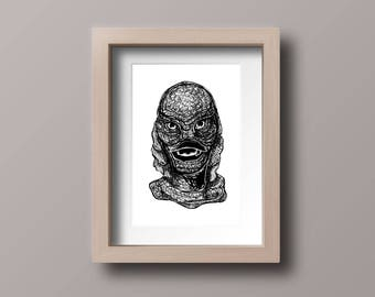 Creature from the Black Lagoon - Retro Horror Movie - Print horror Gift - Movie Decoration - Horror Lover Gifts