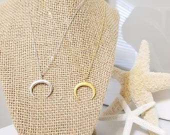 Gold Cresent Moon Necklace, Silver Cresent Moon Necklace   Tusk Necklace   Cresent Moon Necklace