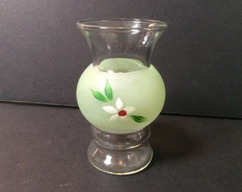 Vintage Bartlett Collins Bud Vase Green Frosted with White Flower