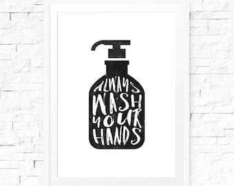 Vintage bathroom sign, Wash your hands, Printable poster, 8x10 art, bathroom decor, Typography print, Bathroom wall decor, Black and white