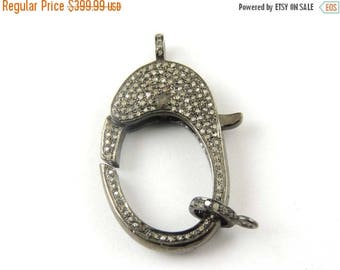 March Sale 1 Pc Pave Diamond Clasp Antique Finish Over Sterling Silver- With Diamond On Both Sides 40mmx21mm LB059