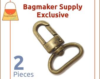 "1 Inch Swivel Snap Hook, Antique Brass / Bronze Finish, 2 Pack, Handbag Bag Making Hardware, Purse Supplies, 1"", Lobster Claw, SNP-AA099"