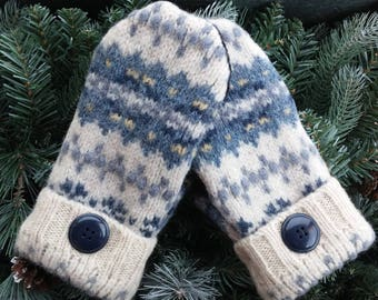 Recycled Wool Sweater Mittens, Blue Wool Mittens, Recycled Blue and Cream Colored Wool Mittens, Recycled Sweater Mittens - RSM000176