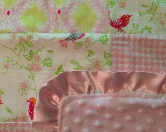 Baby blanket- pink birds