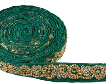 KK Hand Beaded Prom Dress Border 1 Yd Trim Green Craft Lace Pearl Beads Work