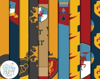 Medieval Knight Digital Scrapbooking Paper Pack, Buy 2 Get 1 FREE. Instant Download