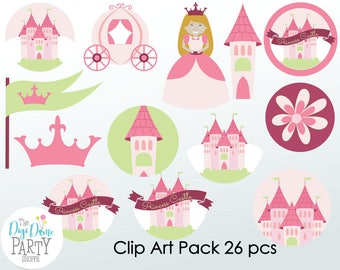 Princess Castle Digital Scrapbooking Clip Art, Buy 2 Get 1 FREE. Instant Download