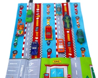 Grab and go Mat and Carrier, Play mat, Travel toy, Car Caddy, Roll up cars, Car wallet