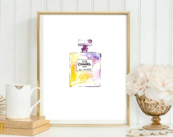 Chanel Perfume Bottle Watercolor Painting // Yellow & Purple // Fashion Art // Chanel No5 Painting