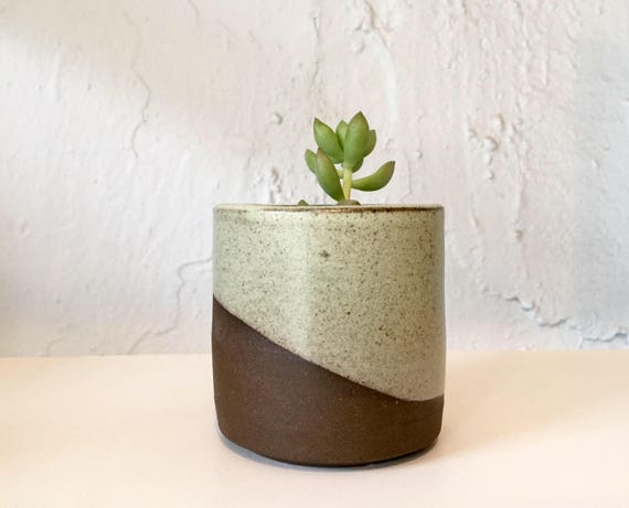 Ceramic mini planter- handmade succulent pot- green