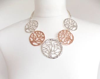 Stunning Rose Gold and Silver Tree of Life Statement Necklace