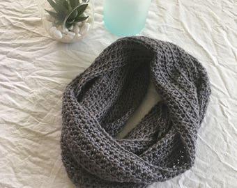 LARGE grey infinity scarf