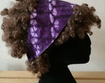 Purple and White Lined African Print Head Band