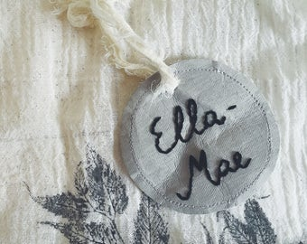 Personalised Name Tags, Hand Made, embroidered, washable paper, pretty fabric backing, Birthday, Present Or Wedding Decor