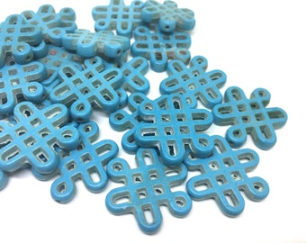 Turquoise Chinese Knot Beads, 28mm beads, acrylic beads, blue beads, bracelet necklace earrings, jewelry making, blue bracelet, blue jewelry