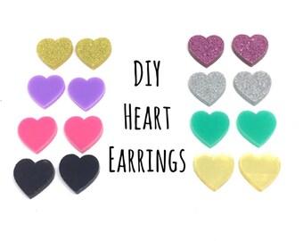 DIY heart Acrylic Earring Blanks, 12mm earring, monogram earrings, acrylic blanks, heart jewlery, heart earrings, jewelry making, pink gold