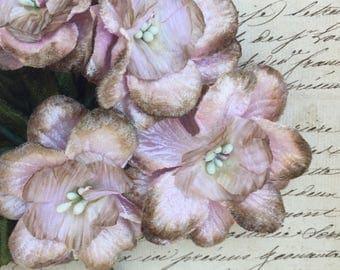 Antique pink velvet posy . Millinery flowers .