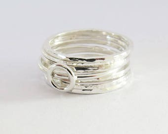 Set of 7 Silver Stacking Rings,  Silver Ring Set, Hammered Rings, Open Circle Ring,  Thin Rings, 925 Sterling Silver Rings, Dainty Rings