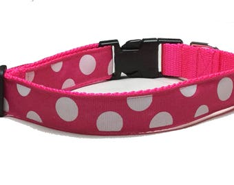 Dog Collar, Dots - Puffed White on Pink