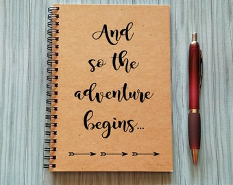Travel Notebook, And so the adventure begins... -5 x 7 Journal, Adventure Notebook, Bullet Journal, Wanderlust, Spiral Notebook