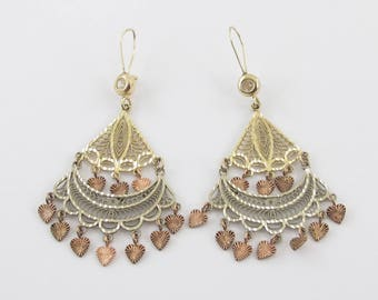 14k Yellow White And Rose Gold Earrings - Multi Tone Chandelier Dangling Earrings