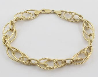 14k Yellow Gold Rolo Link Charm Bracelet 7 1/2 Inches 4.9 grams