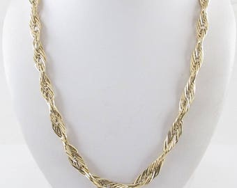 """14K Yellow Gold Braided Rope Chain Necklace 20"""" 15.2 grams"""