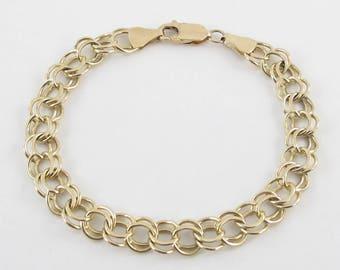"14kt Yellow gold Charm Bracelet, 14k Yellow Gold Bracelet Size 7 1/2"""