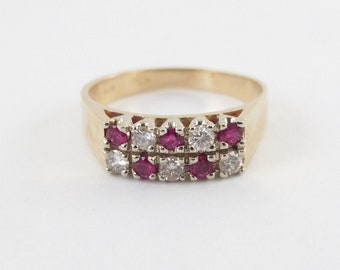 14k Yellow Gold Diamond And Ruby Ring Size 7 3/4 - Women's Gemstones Ring