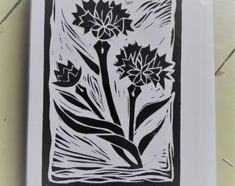Cornflower lino-cut card