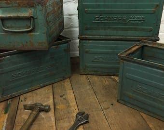 Industrial Vintage Metal Factory Storage Crates