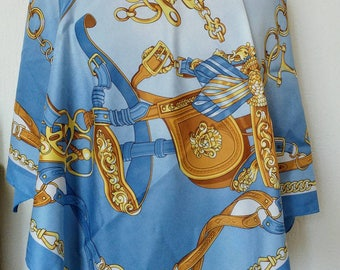 Vintage baby blue royalty print scarf