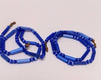 Vintage blue glass necklace set cobalt blue beads