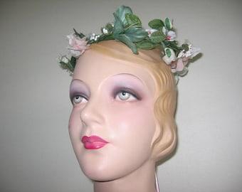 Vintage Floral Crown Wreath Tiara with Long Back Streamers!