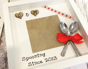 Spooning since photo frame Valentines Anniversary Wedding gift scrabble