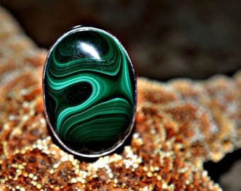 Malachite Silver Ring, 925 Silver Ring, Natural Malachite Silver Ring, Malachite Ring