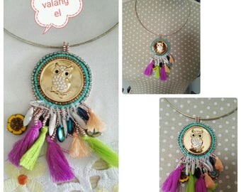 cute OWL embroidered on a metal pendant