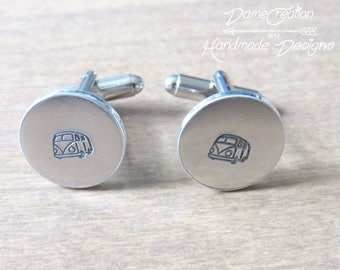 Custom Cuff Links VW, Bus Cuff Links, Best Man Cuff Links, Wedding Cufflinks for Groom, Personalized Cufflinks Silver