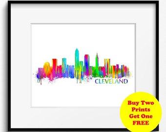 Cleveland Skyline Watercolor Art Print (013) Cityscape