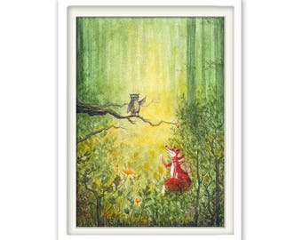 Children's posters Fox and Owl